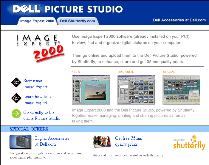 Launch Page for Dell Picture Studio